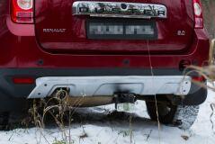 Накладка заднего бампера (аэродинамический обвес) усиленный 4 мм С ПОКРЫТИЕМ СЕРЫЙ МЕТАЛЛИК Renault Duster 2010-2014