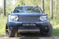 Защитная сетка и заглушка переднего бампера (С ОБВЕСОМ БЕЗ ДХО) Renault Duster 2010-2014