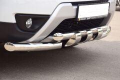 Защита переднего бампера двойная с зубьями 63/63мм (НПС) RENAULT Duster 2012-