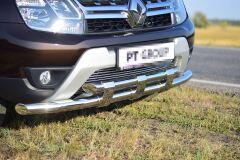 Защита переднего бампера двойная с пластинами 63/63мм (НПС) RENAULT Duster 2012-