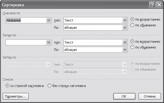 Сортировка данных в таблице Word в алфавитном порядке